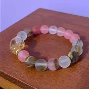 Pink and white marble bracelet